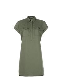 Vestido camisa verde oliva de T by Alexander Wang