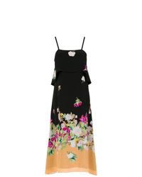 Vestido camisola con print de flores negro de Andrea Marques