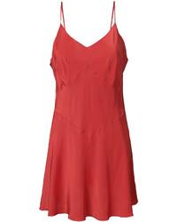Vestido camisola de seda rojo