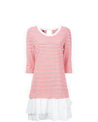 Vestido casual de rayas horizontales en blanco y rojo