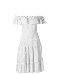 Vestido con hombros al descubierto de lino blanco de Isolda