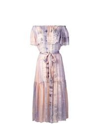 Vestido con hombros al descubierto efecto teñido anudado rosado de Raquel Allegra