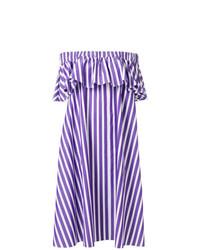 Vestido con hombros al descubierto en violeta de Maison Rabih Kayrouz