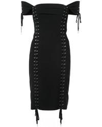 Vestido con hombros al descubierto negro de Moschino