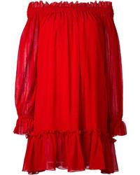 Vestido con hombros al descubierto rojo de Alexander McQueen