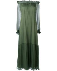 Vestido con hombros al descubierto verde oliva de P.A.R.O.S.H.