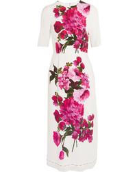 Vestido con print de flores blanco de Dolce & Gabbana