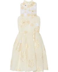 Vestido con print de flores en beige de Fendi