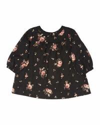 Vestido con print de flores negro de Bonpoint