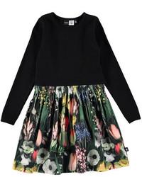 Vestido con print de flores negro de Molo