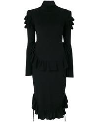 Vestido con volante negro de Dsquared2
