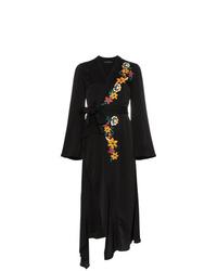 Vestido cruzado con print de flores negro de Etro