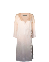 Vestido cruzado de seda efecto teñido anudado rosado de Raquel Allegra
