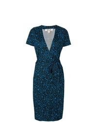 Vestido cruzado estampado azul marino de Dvf Diane Von Furstenberg