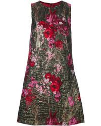 Vestido de brocado con print de flores dorado de Dolce & Gabbana