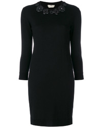 Vestido de cuero con print de flores negro de Fendi