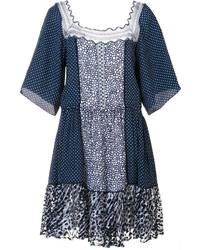 Vestido de encaje a lunares azul marino de Chloé