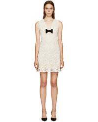 Vestido de encaje con print de flores blanco de Burberry