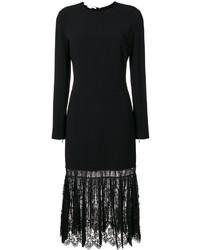 Vestido de encaje plisado negro de Stella McCartney