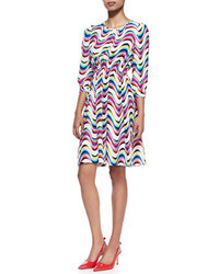 Vestido de fiesta de seda con estampado geométrico en multicolor de Kate Spade