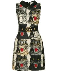 Vestido de lana estampado negro de Gucci