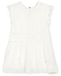 Vestido de lana rizada blanco de Burberry