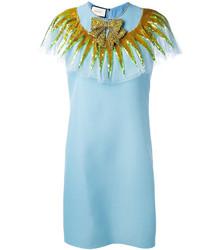 Vestido de lentejuelas con adornos celeste de Gucci