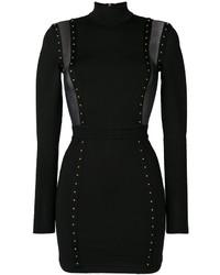 Vestido de malla con tachuelas negro de Balmain