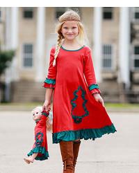 Vestido de navidad en verde y rojo