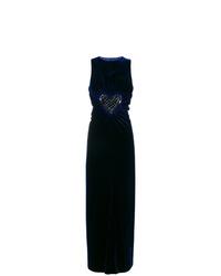 Vestido de noche con adornos azul marino de Fendi