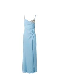 Vestido de noche con adornos celeste de Versace