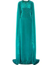 Vestido de noche con adornos en verde azulado