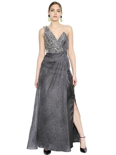 a499e8280 ... Vestido de noche con adornos gris de Giorgio Armani ...