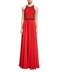 Vestido de noche con adornos rojo