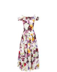 Vestido de noche con print de flores blanco de Dolce & Gabbana