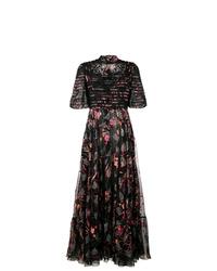 Vestido de noche con print de flores negro de Valentino