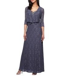 Vestido de noche de encaje con adornos azul marino de Alex Evenings