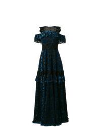 Vestido de noche de encaje con adornos azul marino de Talbot Runhof