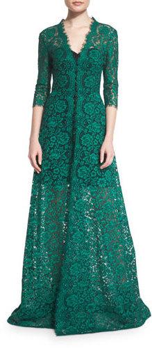 6990 Vestido De Noche De Encaje Verde De Carolina Herrera