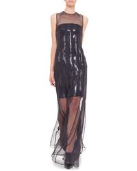 Vestido de Noche de Gasa Negro de Akris