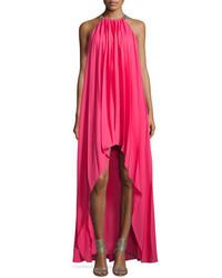 Vestido de noche de gasa plisado rosa