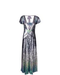Vestido de noche de lentejuelas plateado de Temperley London