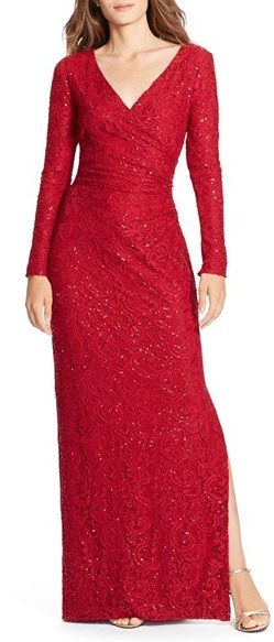 9c87895ca ... Vestido de noche de lentejuelas rojo de Lauren Ralph Lauren ...