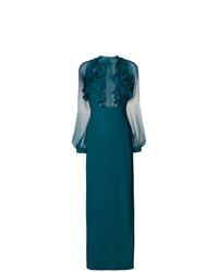 Vestido de noche de malla en verde azulado de Dsquared2