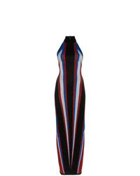 Vestido de noche de rayas verticales negro de Balmain