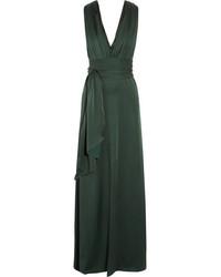 Vestido de noche de satén verde oscuro de Victoria Beckham
