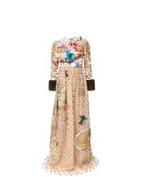 Vestido de noche de tul con print de flores marrón claro de Gucci