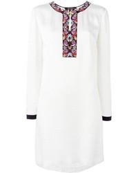 Vestido de seda bordado blanco de Etro