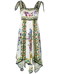 Vestido de seda con print de flores blanco de Dolce & Gabbana