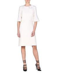 Vestido de seda con print de flores blanco de Fendi